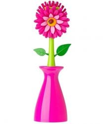 Dish Brush with Vase Stand Flower Power | Pink