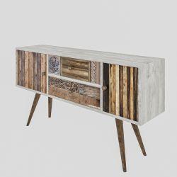 TV Stand Odense | White & Wood Veneer