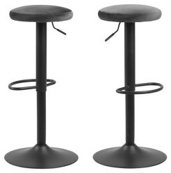Bar Stool Lynch Set of 2 Fabric Seating | Dark Grey