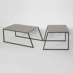 Set of 2 Coffee Tables Pal Orta Sehpa | Light Mocha