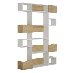 Bookcase Niho | Light Wood & White