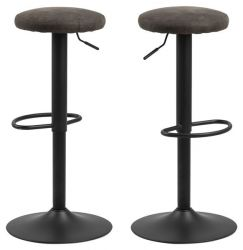 Tabouret de Bar Lynch Siège en Tissu Set de 2 | Anthracite