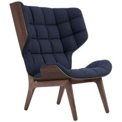 Armchair Mammoth | Wool Seat | Dark Stained Frame | Navy Blue