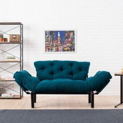 2 Seater Sofa Bed Nitta | Petrol Blue