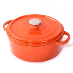 Cast Iron Casserole H 15 cm | Orange