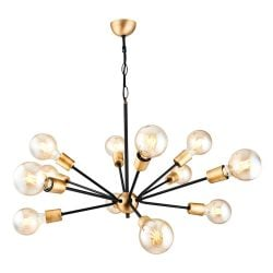Hanging Lamp Tubo 12 Lights | Black & Gold