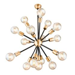 Hanging Lamp Tubo 16 Lights | Black & Gold