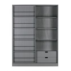 Swing Cabinet with Sliding Door | Grey