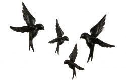 Decoratieve Vogels Set van 4 | Zwart