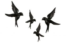 Dekorative Vögel 4er-Set | Schwarz