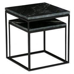 Side Table Mellow Marble | Set of 2 | Black
