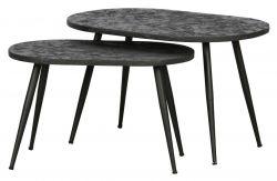 Set de 2 Tables d'Appoint Oval | Or Antique & Noir