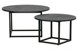 Set of 2 Side Tables Enzo | Black