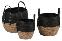 Set of 3 Woven Baskets Amara | Black/Natural