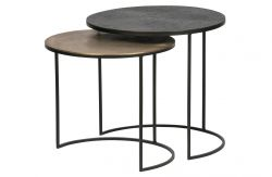 Set of 2 Side Tables Fara | Brass/Black