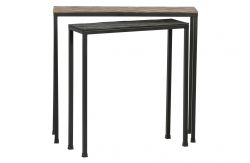 Set of 2 Side Tables Lane | Brass/Black