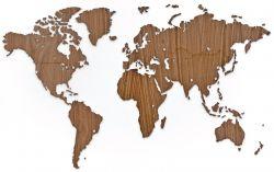 Exklusive Holzweltkarte 130 x 78 cm | Nussbaum