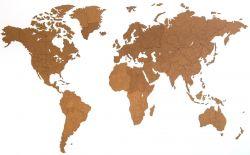 Hölzerne Riesen-Weltkarte 280 x 170 cm | Braun