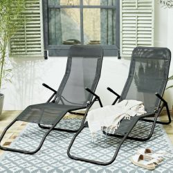 Set of 2 Outdoor Loungers | Black