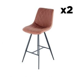 Set of 2 Bar Stools Jay | Brown & Black