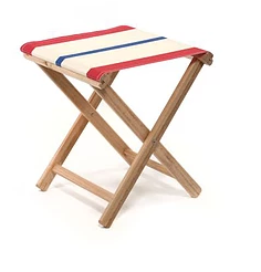 Beach Stool Striped | Natural / Red / Blue