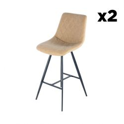 Bar Stool Jay Set of 2 | Taupe & Black