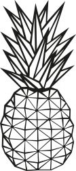 Wanddecoratie Ananas | Zwart