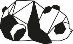 Wandschmuck Panda 2 | Schwarz