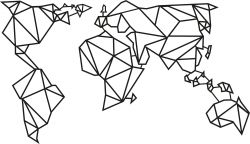 Wanddecoratie Wereldkaart 2 | Zwart