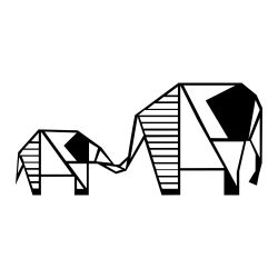 Wandschmuck Elefant 3 | Schwarz