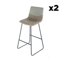 Bar Stool Hennie Set of 2 | Taupe, Grey Brown & Black