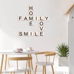 Muurdecoratie Scrabble Home, Family, Love, Smile