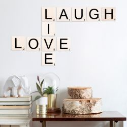 Muurdecoratie Scrabble Live, Love, Laugh