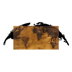 Wall Deco World Map | Walnut Black