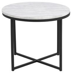 Coffee Table Cross Ø 55 | White Marble & Black