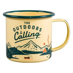 Tasse Emaille | Outdoors Is Calling | Jaune