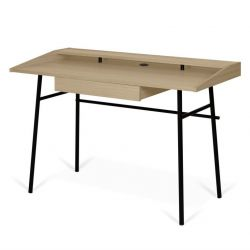 Ply Desk | Oak, Black Legs