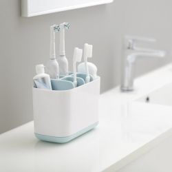 Toothbrush Organiser Caddy Large | Blue & White