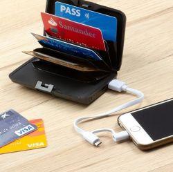 Sicherheits Karten-Portemonnaie mit Powerbank   Schwarz