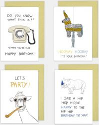 Geburtstagskarten 4er-Set | Lustig