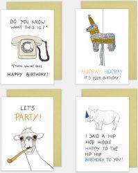 Birthday Cards Set of 4 | Funny