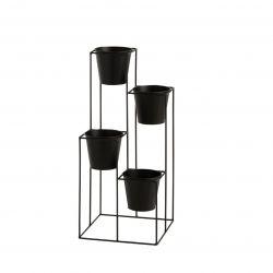 Rack flower pot holder with 4 pots | Black