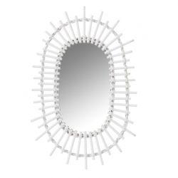 Spiegel Oval Sun | Bambus weiß