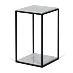Table d'Appoint Forrest | Marbre Blanc, Pieds de Table Noirs