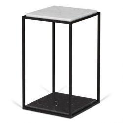 Side Table Forrest | Black & White Marble, Black Legs