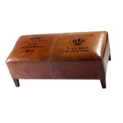 Burnet Bench, Brown Leather