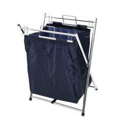 Laundry Hamper | Chrome & Dark Blue