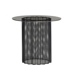 Table d'Appoint Glass Metal 45 cm | Noir Givré