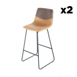 Bar Stool Hennie Set of 2 | Dark Brown, Brown & Black