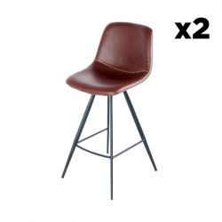 Bar Stool Timo Set of 2 | Dark Brown & Black